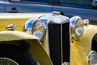 Cream white classic antique car front