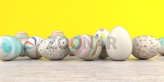 Colored Easter Eggs Wooden Table