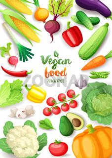 Vegetables top view frame. Vegan food market vertical poster design. Colorful fresh vegetables, organic healthy food, vector illustration.