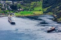 Geiranger fjord with cruise ship