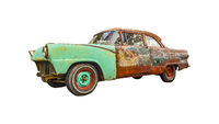 Old Neglected Car Isolated Photo