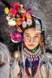 Portrait of indigenous girl in Ladakh, India