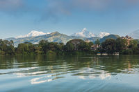 The Machapuchare and Annapurna III seen Pokhara, Nepal