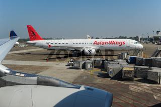 Yangon, Myanmar, A321 Passagierflugzeug der Asian Wings auf dem internationalen Flughafen