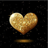 Golden glitter shining heart on black, abstract sparkling heart shape, festive valentines decor with gold lights, vector illustration.