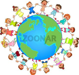 Small children around the globe