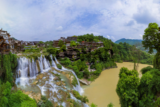 Furong ancient village and waterfall - Hunan China