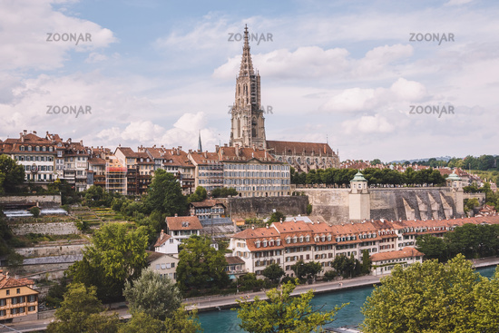 Panoramic view on Bern Minster and historic old town of Bern