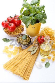 Raw ingredients for Italian pasta