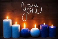 Romantic Turquoise Candle Light , Calligraphy Thank You