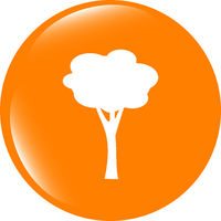 Tree Icon on Round Button . Flat sign isolated on white background