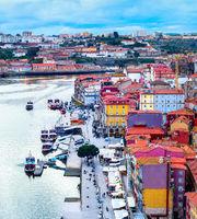 Porto aerial cityscape douro river