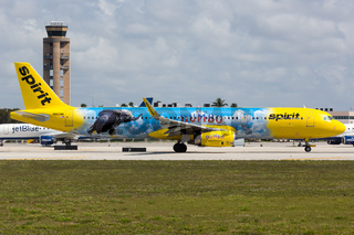 Spirit Airlines Airbus A321 airplane Fort Lauderdale airport special livery Dumbo