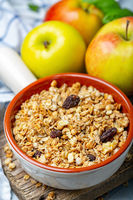 Homemade granola with apples and raisins.