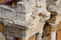 Bas-reliefs of antique scenes on the gables of the amphitheater in Hierapolis, Turkey.