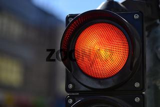 The red semaphore light. Trafic control light.
