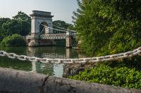 Bridge on the river estuary of Rong Lake