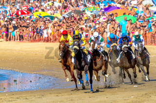 Horse race on Sanlucar of Barrameda, Spain, 2016