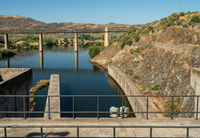 Waiting at the lock gates of the Pocinho dam on the River Douro in Portugal