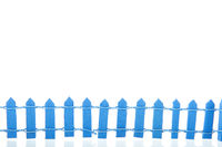 Blue fence on white background