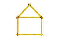 yardstick folded in form of an house