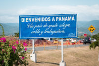 Welcome to Panama Sign (Bienvenidos a Panama) near airport in Panama City