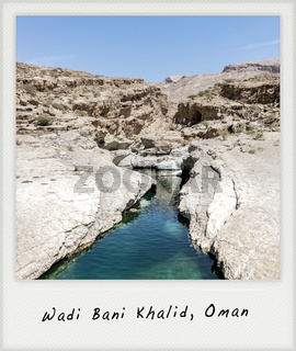 River and pool in the canyon of Wadi Bani Khalid with Polaroid frame, Oman