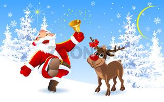 Joyful Santa and reindeer