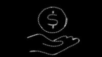 hand and coin icon designed with drawing style on chalkboard, animated footage ideal for compositing and motiongrafics