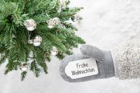 Gray Glove, Tree, Silver Ball, Frohe Weihnachten Means Merry Christmas