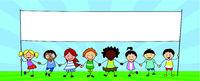group of children holding banner, kids holding hands illustration -