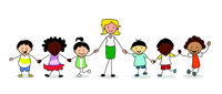 kids in kindergarten,  group of children with female teacher holding hands -