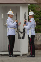 White-jacketed Grand Palace soldiers outside sentry box