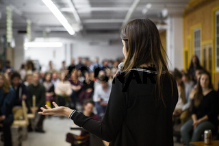 Girl gives a conference