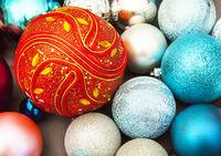New year decorations on dark background festive card