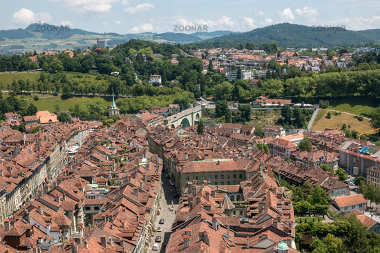 Aerial panorama of historic Bern city center from Bern Minster, Switzerland