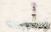 Watercolor green Lighthouse