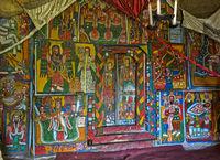 Canvas Gemälde mit biblischen Motiven, orthodoxe Felsenkirche Mikael Mellehayzengi,Tigray,Äthiopien