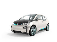 Modern electric car in front white perspective 3d render on white background with shadow
