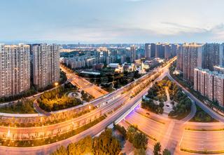 city interchange in nightfall at xian