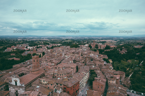 Panoramic view of Siena city with historic buildings and streets