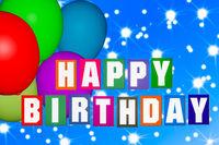 Happy Birthday Birthday Card with Balloon, 3D Illustration