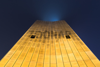The view up along the Axel Springer building in the night