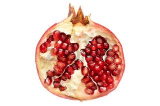 Half of pomegranate isolated