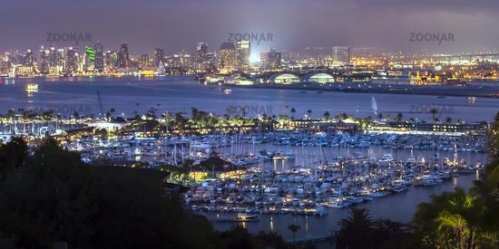 Illuminated harbor and city in San Diego at night