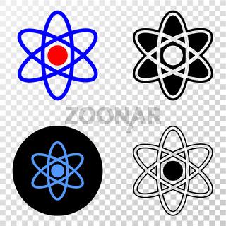 Atom Model Vector EPS Icon with Contour Version