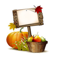 Old Wooden banner with Orange pumpkin, Autumnal leaves and basket full ripe apples