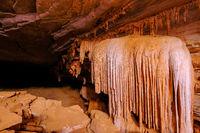 Stalagmites and stalactites in the cave Gruta Da Lapa Doce, cave in Iraquara, Chapada Diamantina, Bahia, Brazil