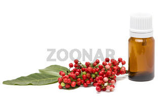 Mastic essential oil isolated on white background.