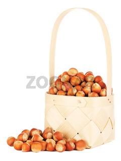Hazelnuts In Wooden Basket